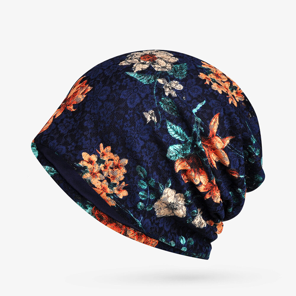 Women Cotton Thin Soft Flower Print Beanie Hat Outdoor Casual Windproof Hat