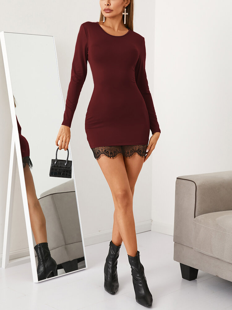 Solid Color Lace Patchwork Bodycon Mini Dress For Women