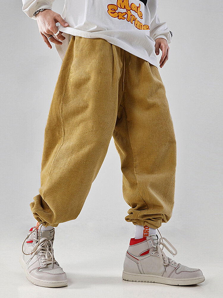 Mens Corduroy Solid Color Drawstring Cuff Jogger Pants With Pocket