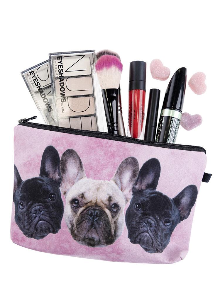 Three Dogs 3D Printing Multi-Functional Cosmetic Bag Clutch Bag Storage Wash Bag