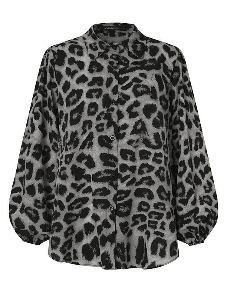 Women Leopard Print Lantern Long Sleeves Button Casual Blouse