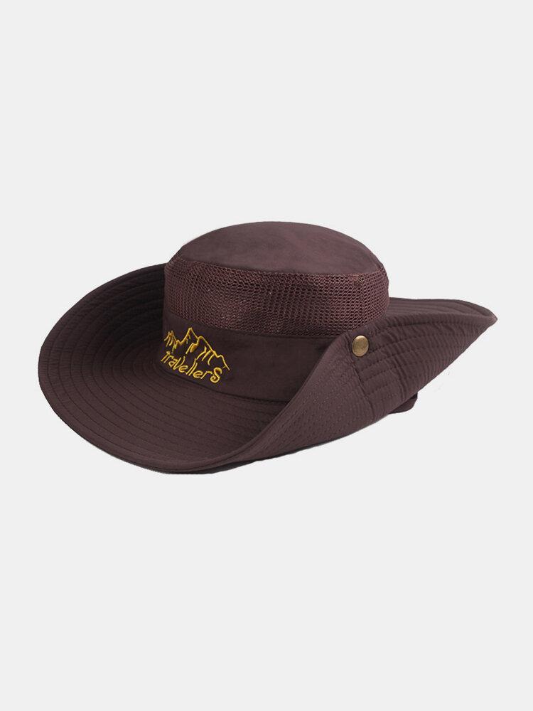 Unisex Outdoor Solid Climbing Fishing Sunshade Adjustable Side Buckle Bucket Hat