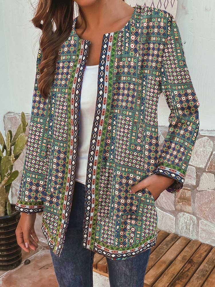 Ethnic Print Embroidery Patch Long Sleeve Vintage Jacket