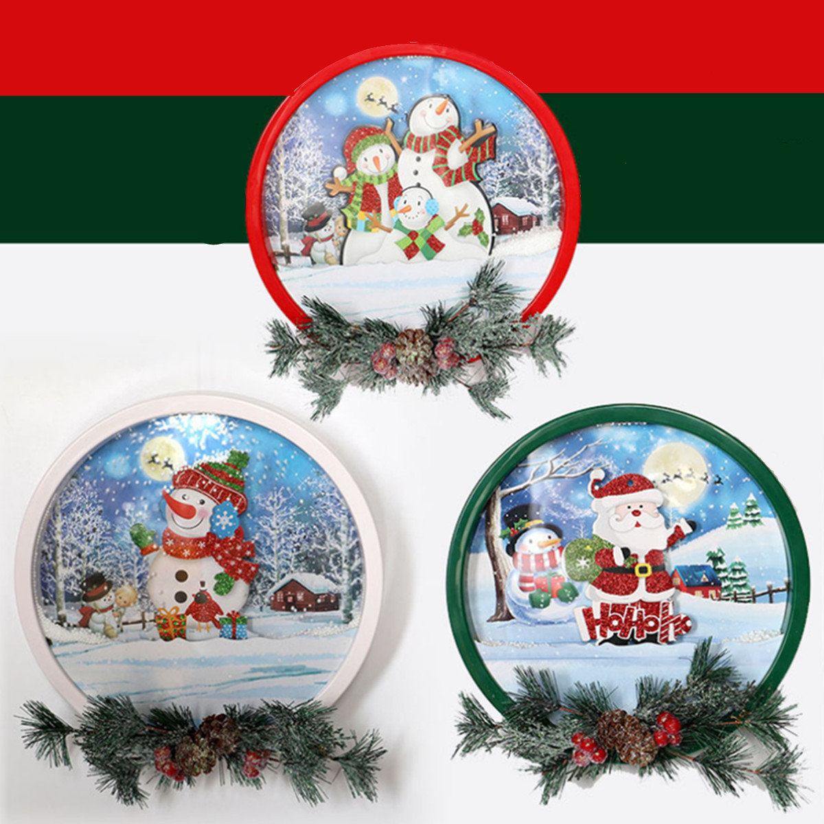 Christmas Santa Claus Snowman Garland with Light&Music Kids Gift Decoration