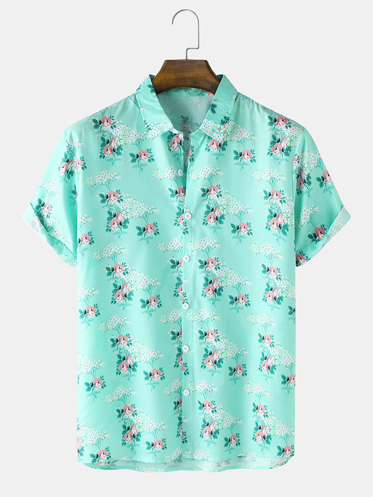 Mens Ditsy Floral Print Button Up Cotton Short Sleeve Shirts