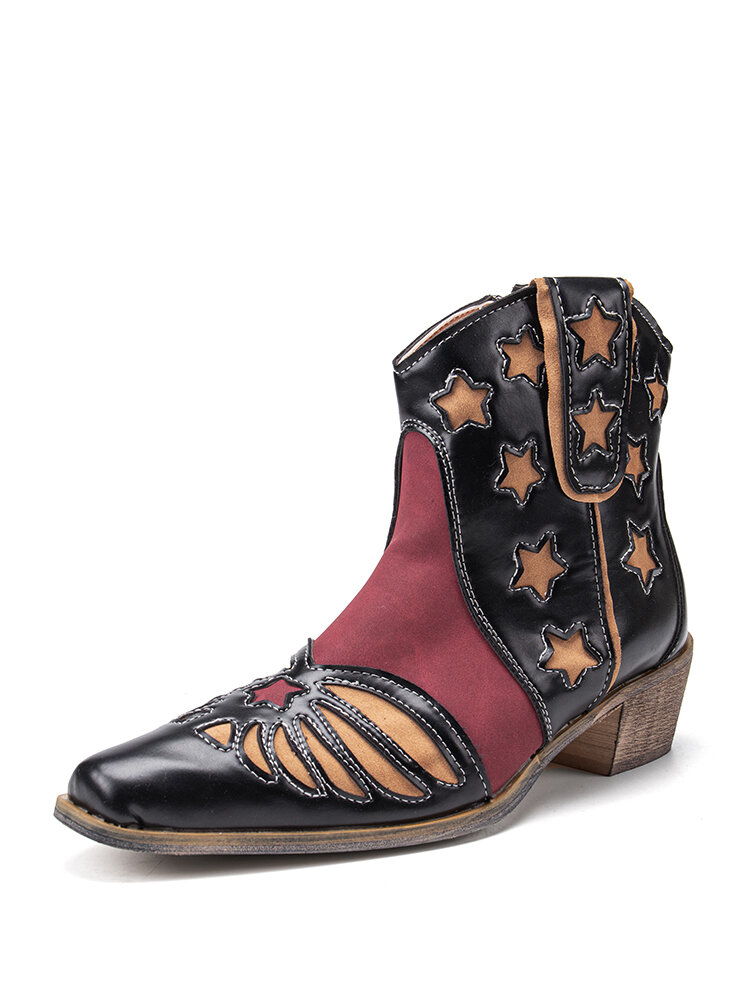 Plus Size Retro Splicing Pointed Toe Side Zipper Ankle Cowboy Boots for Women