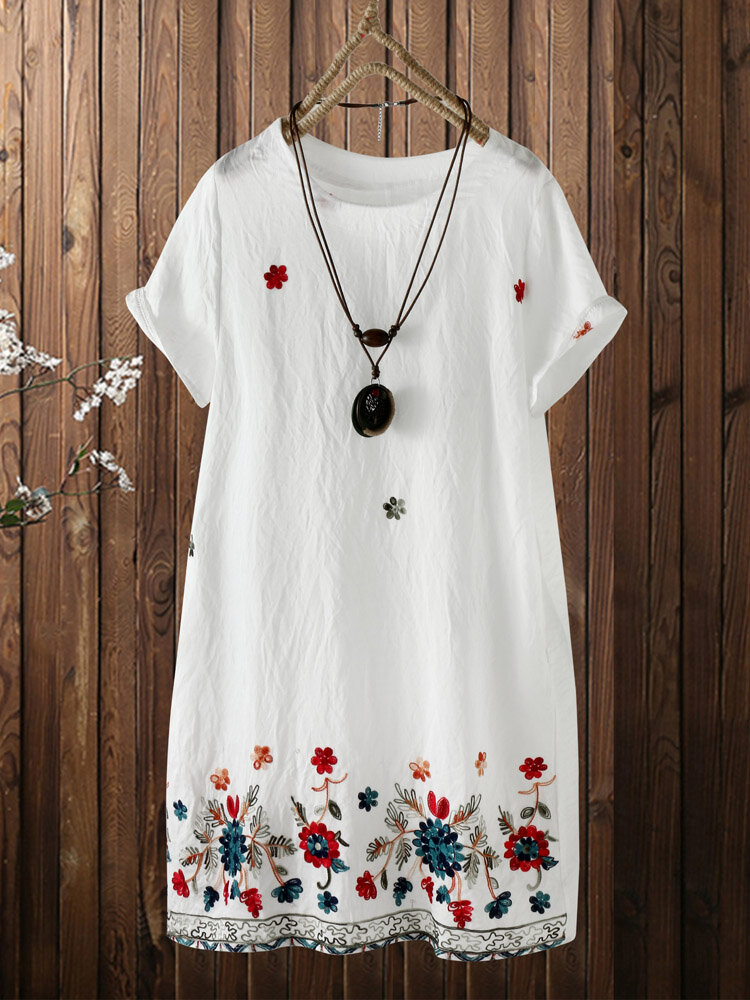 Ethnic Floral Embroidery Plus Size Linen Beaches Dress with Pocket