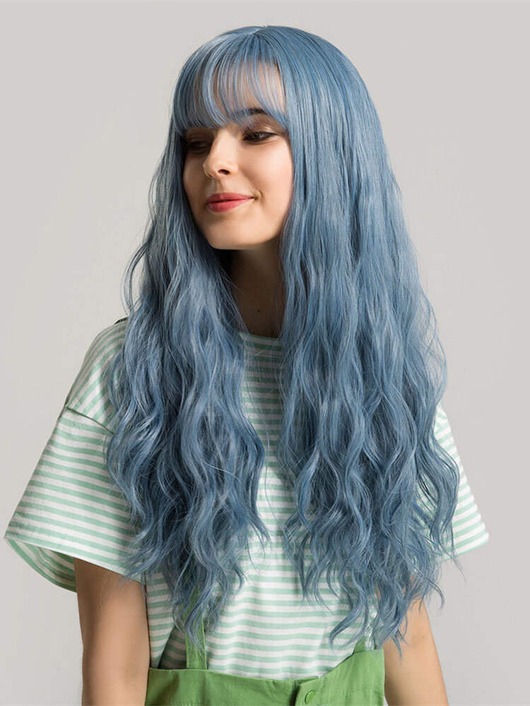 24 inch Blue Neat Bangs Wig Synthetic Hair with Bangs Natural Fluffy Long Wavy Hair Wigs