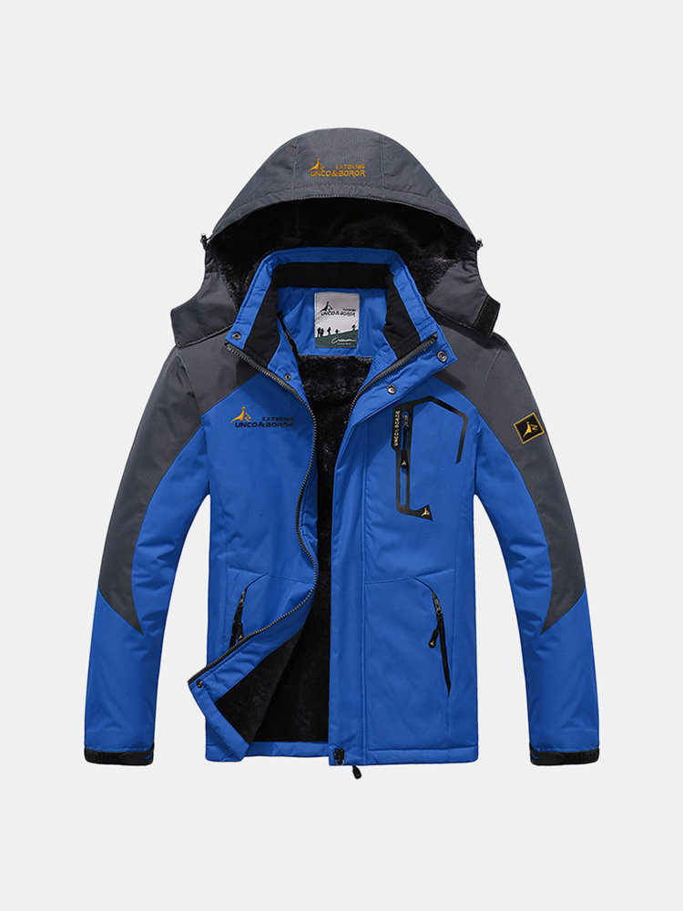 c1d207dad2d Plus Size Outdoor Water Resistant Skiing Climbing Thicken Warm Windproof  Jacket for Men