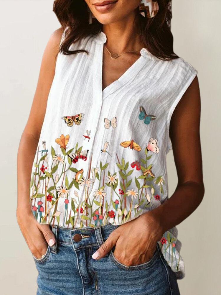 Butterflies Flowers Print V-neck Casual Plus Size Tank Top