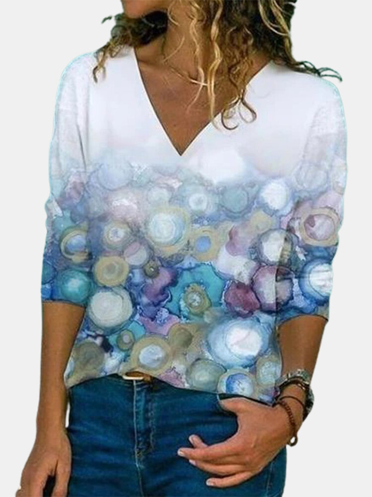 Watercolor Printed V-neck Vintage Long Sleeve T-Shirt For Women