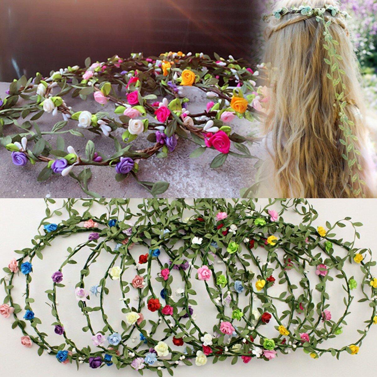سيدة نساء فتاة الزهور مهرجان الزفاف جارلاند الشعر رئيس حزام