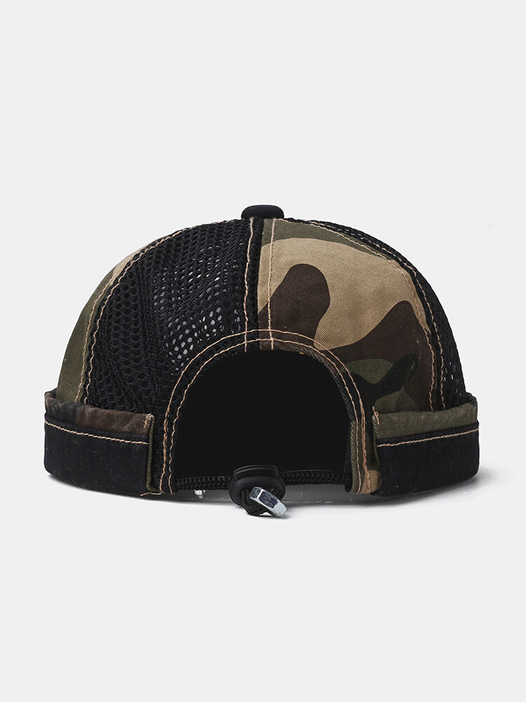 Collrown Men & Women Camouflage Pattern Breathable Mesh Casual Brimless Beanie Landlord Hat Skull Hat
