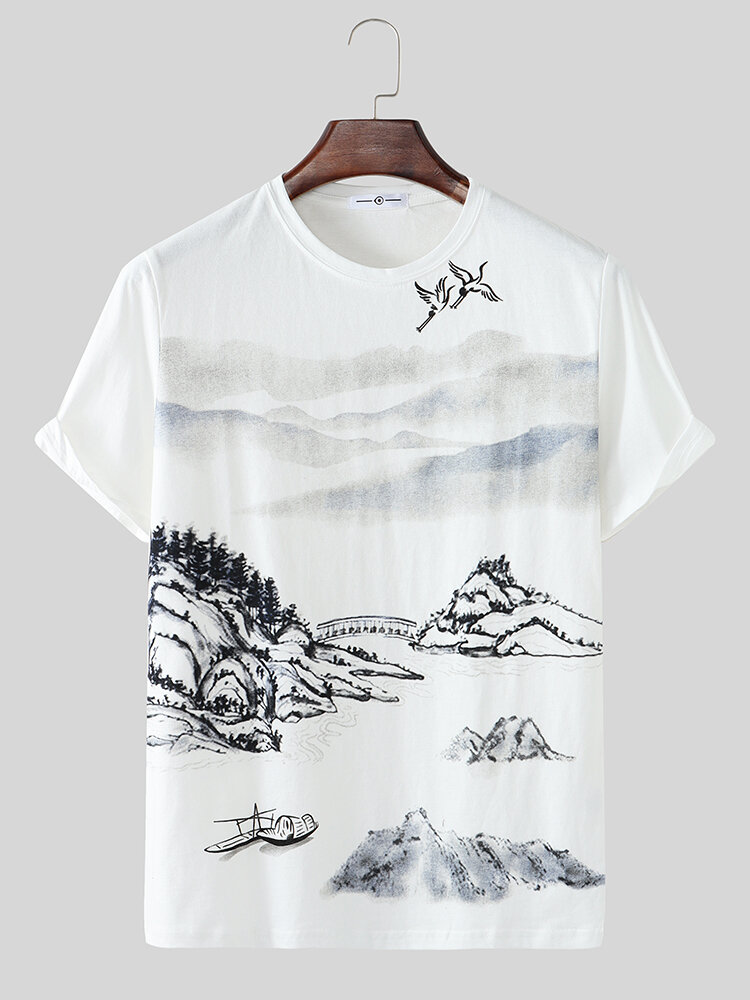 Mens Chinese Landscape Painting Print Cotton Short Sleeve T-Shirts