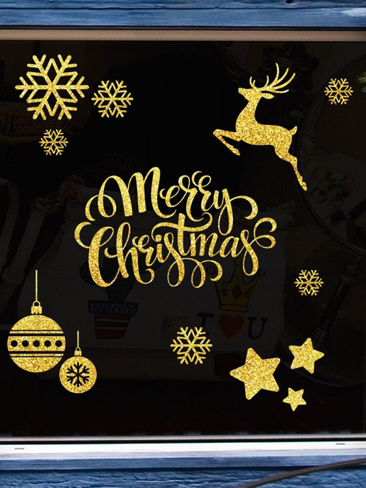 2 шт. Рождественские наклейки на стену, двухсторонние, счастливого Рождества, лося, снежинки, окна, украшения стены