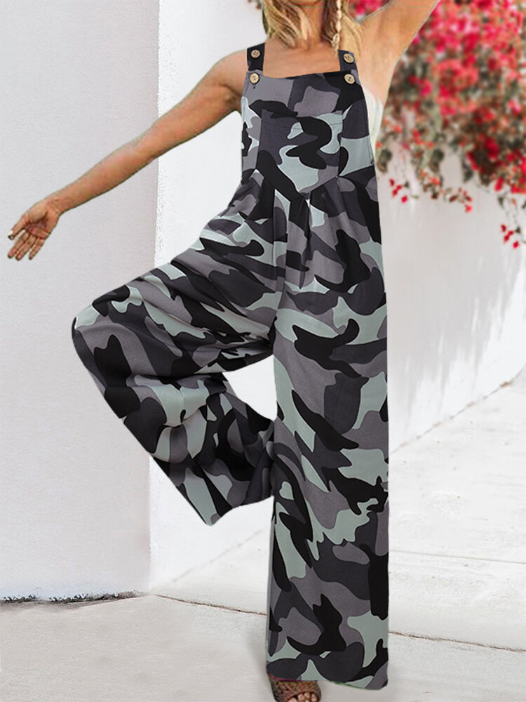 Camouflage Print Wide-legged Pockets Straps Sleeveless Jumpsuits For Women