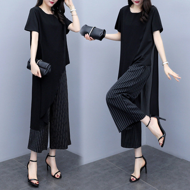 Large Size Women's Season New 200 Pounds Fat Sister Thin Wide Leg Pants Two Sets Of Fat Mm Suit