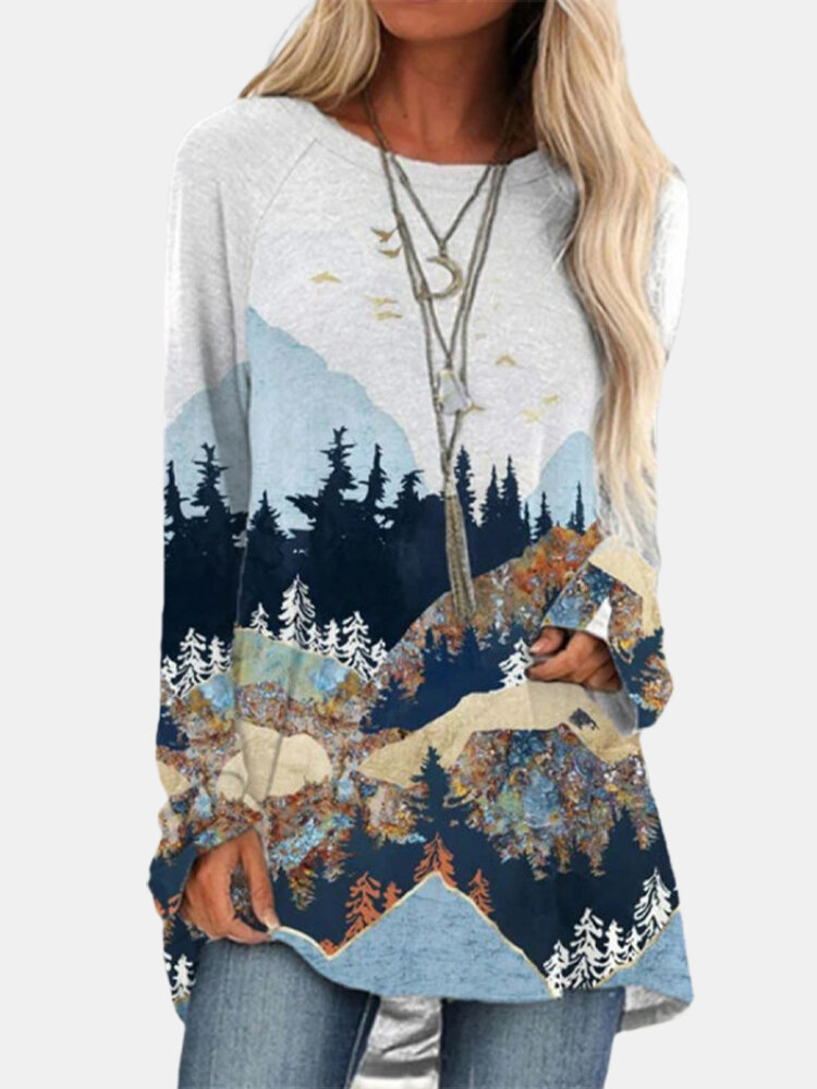 Landscape Print O-neck Long Sleeve Loose Casual Blouse For Women