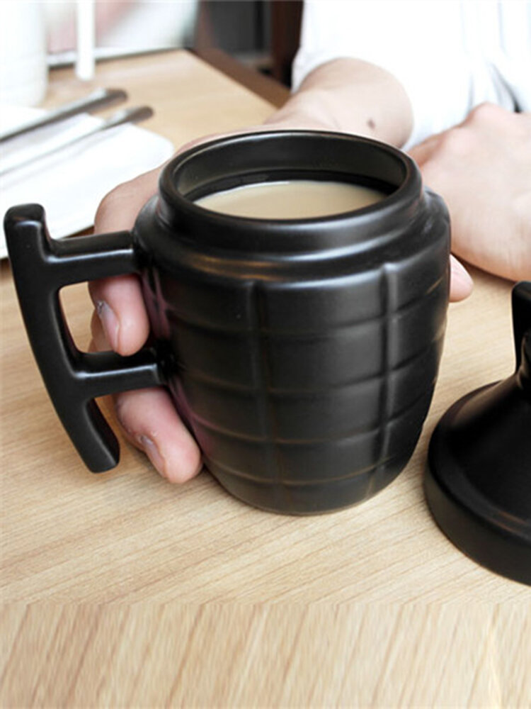 Creative Grenade Coffee Mugs Practical Water Cup with Lid Funny Gifts 3D Cubic Cups