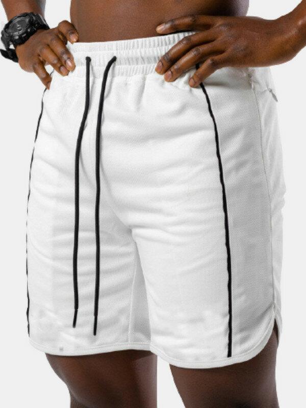 メンズスポーツ通気性フィットネスランニング巾着ショーツ