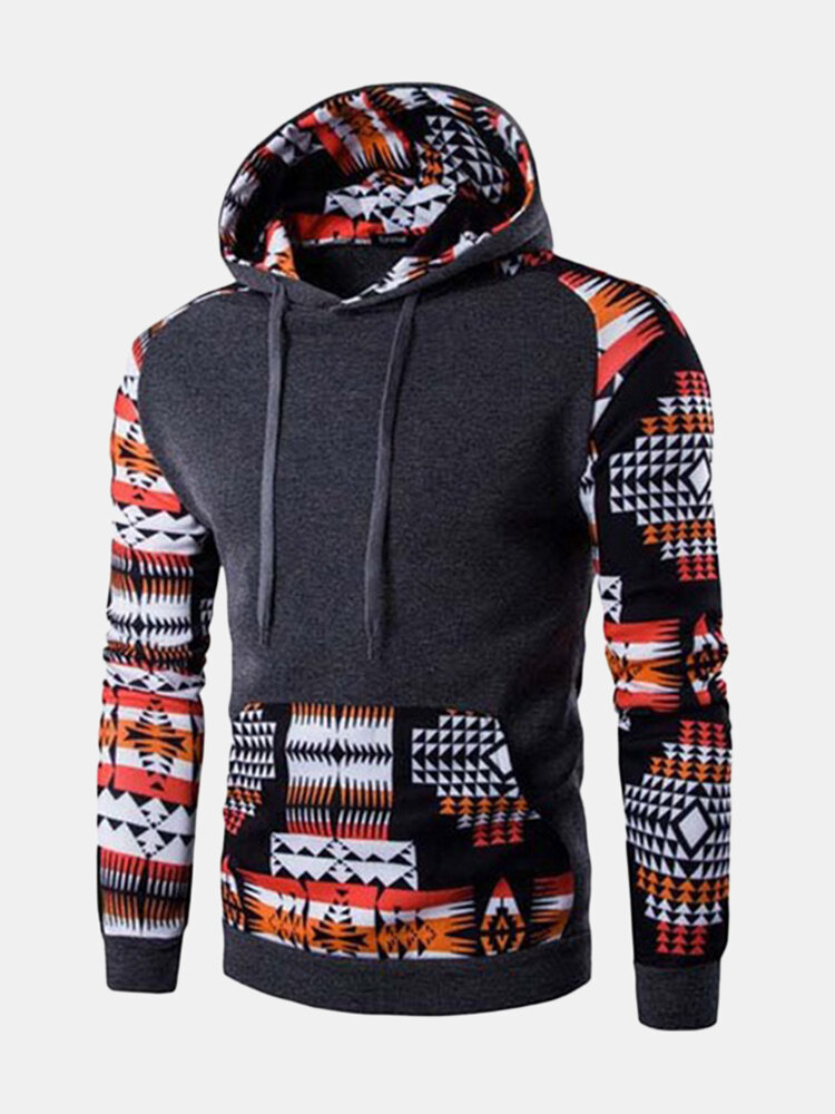 Mens Christmas Stylish Patchwork Printed Front Pocket Warmer Hooded Sportwear Sweatshirt