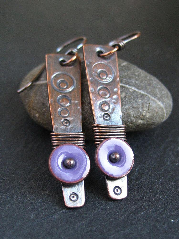 Vintage Drop Shape Women Earrings Colored Enamel Epoxy Pendant Earrings