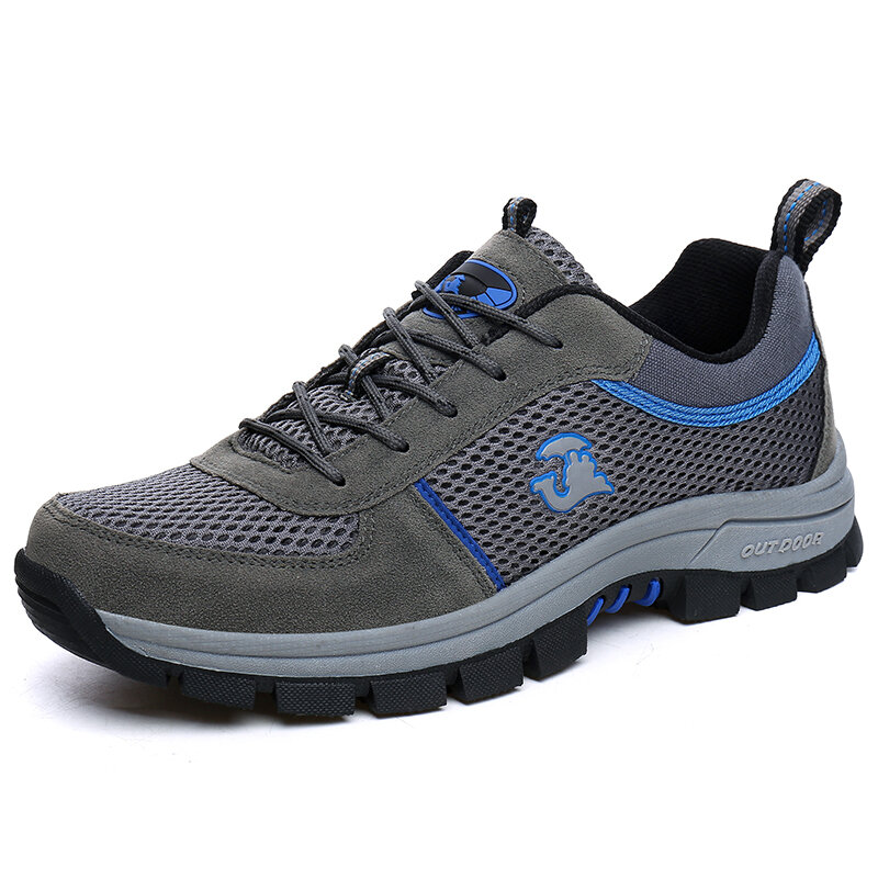 Men Mesh Fabric Non Slip Breathable Outdoor Casual Hiking Sneakers