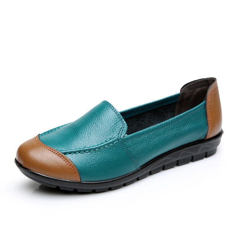 Color Match Stitching Leather Soft Flat Work Loafers