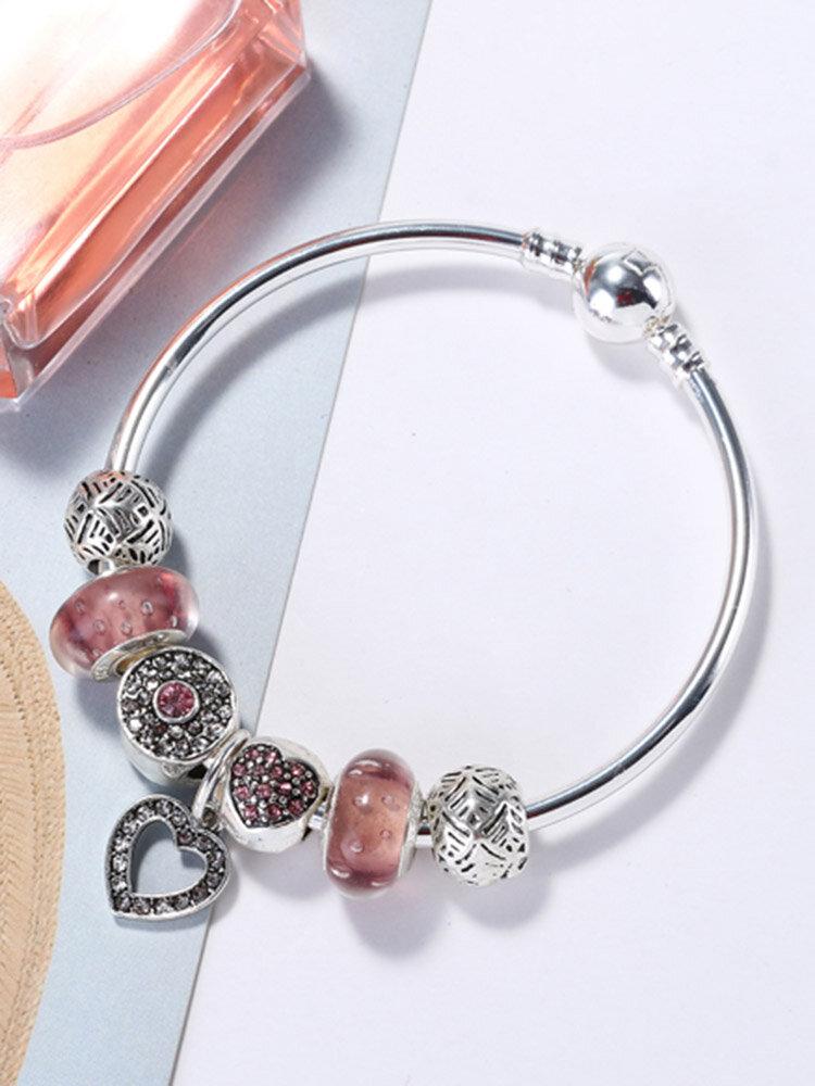 Fashion Pink Crystal Bead Bracelet with Heart Pendant Sterling Silver DIY Charm Bracelets for Women