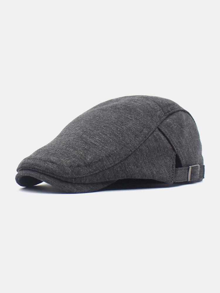 Men Cotton Solid Color Classic All-match Adjustable Forward Cap Berets
