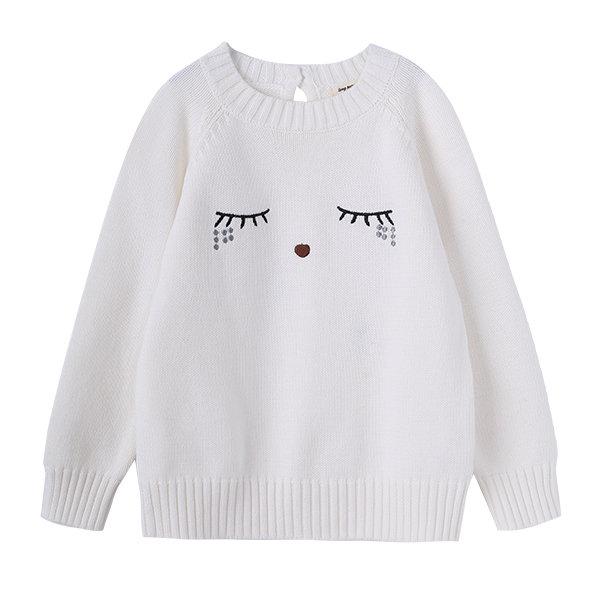 Cute Eyelash Pattern White Baby Girls Sweaters Knitwear Warm Clothes