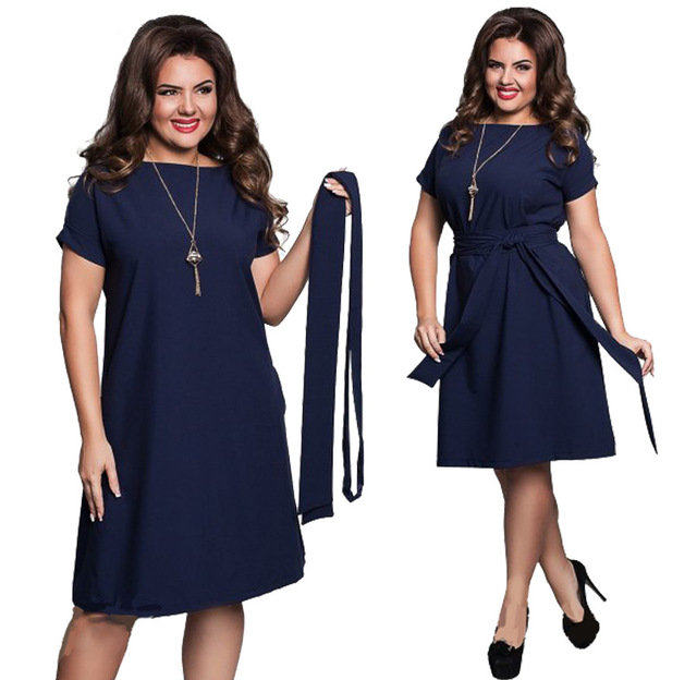 New Women's Fat Sister Casual Large Size Loose Lace Dress
