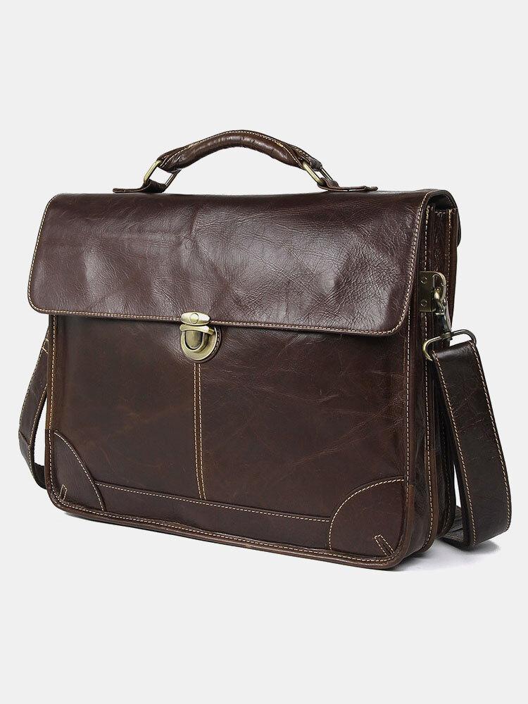Men Vintage Genuine Leather Cow Leather Briefcases 15.6 Inch Laptop Bag Crossbody Bag Shoulder Bag Handbag