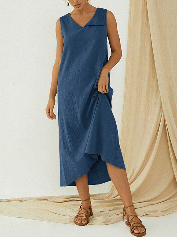 Casual Solid Color V-neck Sleeveless Plus Size Dress