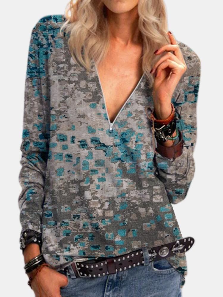Vintage Printed Long Sleeve V-neck Zip Front T-shirt For Women