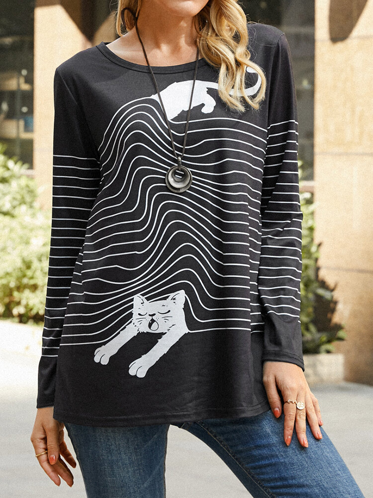 Cat Striped Print Long Sleeve Casual T-Shirt For Women