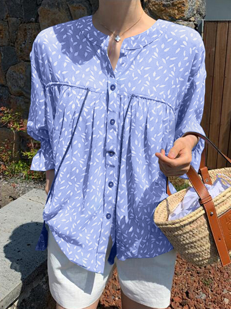 Floral Print Stand Collar Knotted 3/4 Sleeve Button Loose Blouse