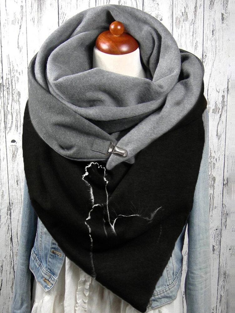 女性のかわいい猫のパターン無地Soft調節可能な首の保護は暖かいスカーフを保ちます