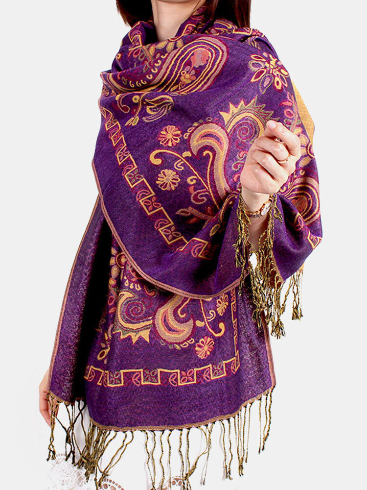 Women Ethnic Style Keep Warm Plus Thick Long Scarf Shawl With Tassel