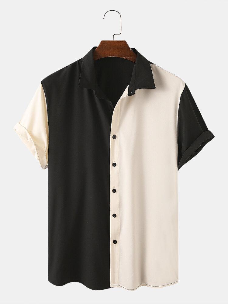 男性非対称カラーマッチングカジュアル半袖シャツ
