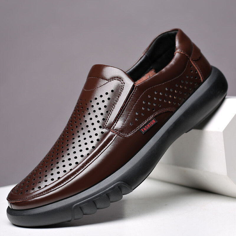 Mens Hollow Out Hole Slip On Business Casual Leather Loafers