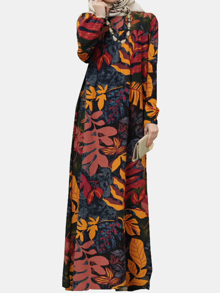 Leaf Print Puff Sleeves Casual MuslimDress for Women