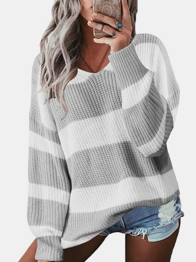 Contrast Color Striped Print Long Sleeves Sweater for Women