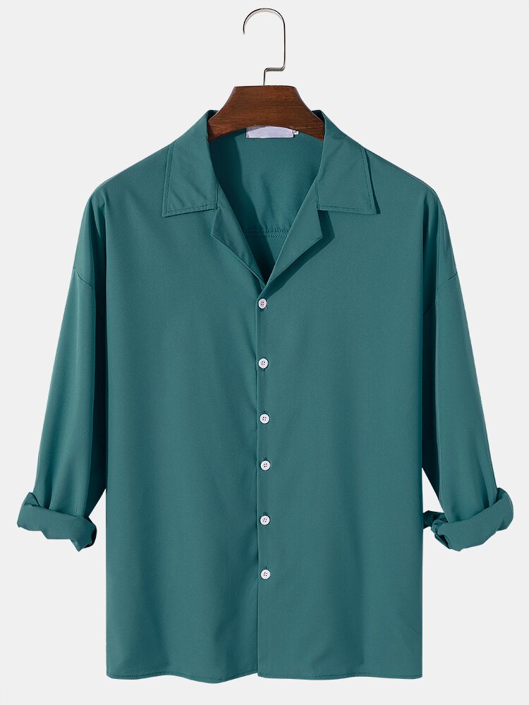 Mens Cotton Solid Color Camp Collar Basic Loose Fit Long Sleeve Shirts