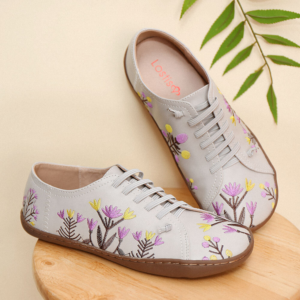 LOSTISY Chaussures plates larges brodées de fleurs quotidiennes rétro pour femmes