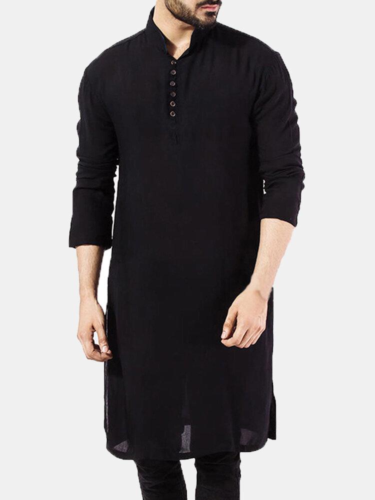 Hommes Pathani Kurta Pyjama Indien T-shirts Longs Coton Costume Ethnique Solide Automne Haut À Manches Longues