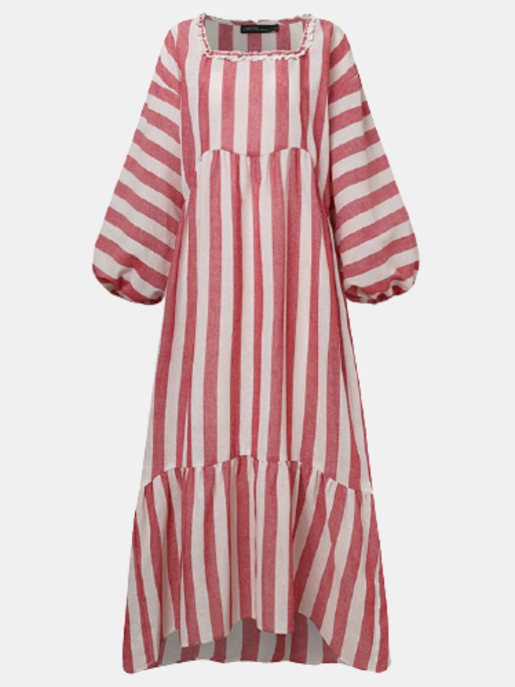 Striped Print Square Collar Lantern Sleeve Plus Size Dress for Women