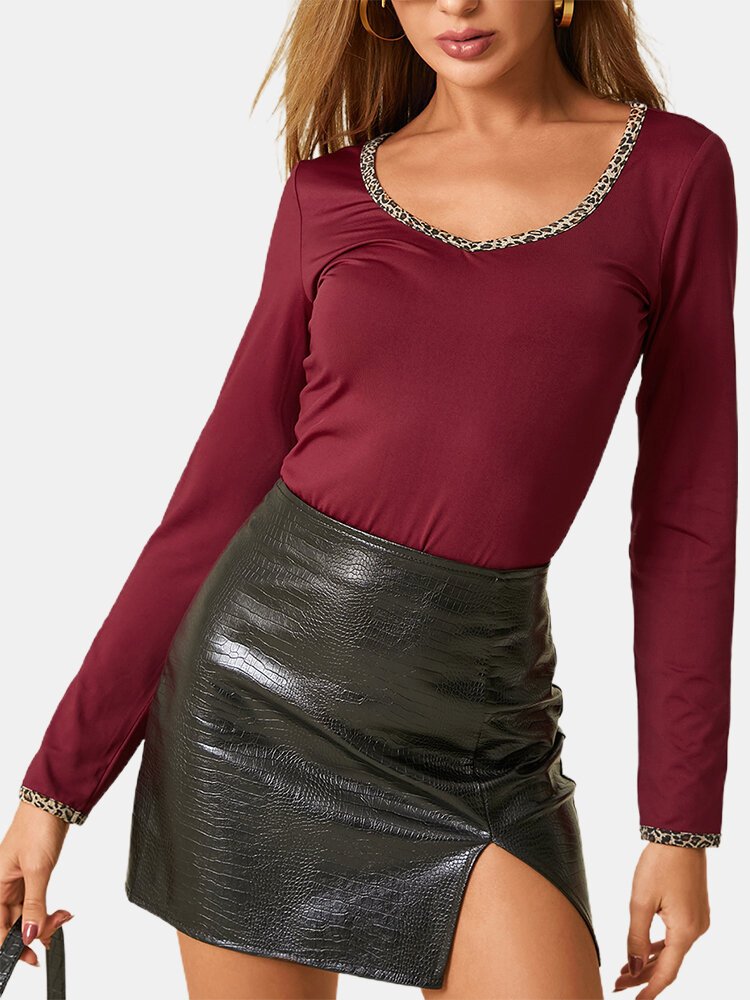 Leopard Patchwork Solid Color Long Sleeve Casual T-shirt For Women
