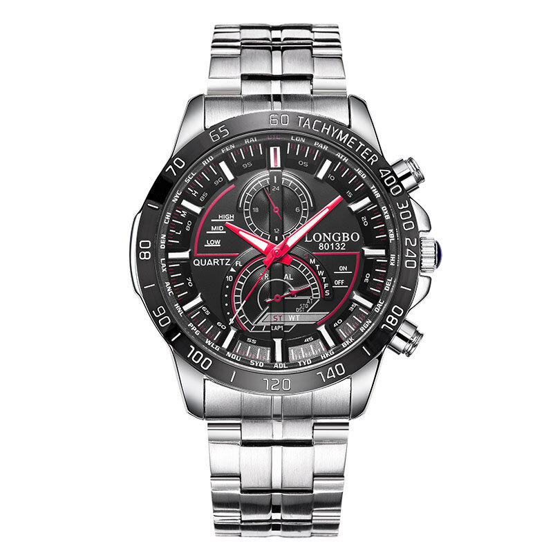 Business Luminous Quartz Wrist Watch Date Display Stainless Steel Band Fashion Watches for Men