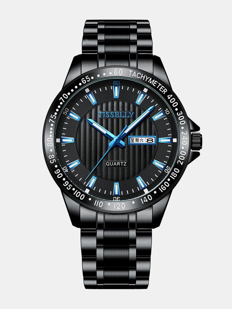 Alloy Steel Band Luminous Business Waterproof Quartz Watch Mens Watch